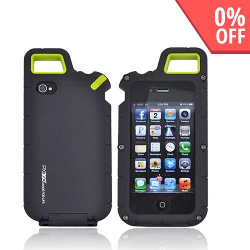 Puregear At&t;/ Verizon Apple Iphone 4, Iphone 4s Px360 Rubberized Hard Impact Case W/ Utility Tool, Carabiner, & Screen Protector- Black/ Lime Green