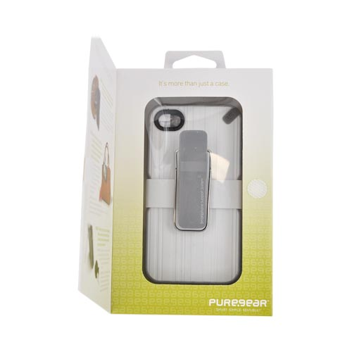 Puregear At&t/Verizon Apple Iphone 4, Iphone 4s Utilitarian Hybrid Hard Case W/ Silicone Border, Kickstand, Beltclip & Screen Protector - White/ Gray