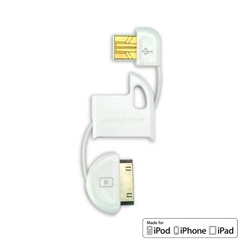 Scosche White FlipSync Apple iPod/iPhone Compatible USB Charge n Sync Keychain Cable (026IPUSBMW) - MFI Ceritifed