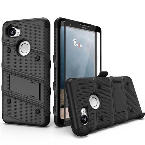 Made for [Google Pixel XL 2]-Bolt Series:  Heavy Duty Cover w/ Kickstand Holster Tempered Glass Screen Protector & Lanyard [Black]