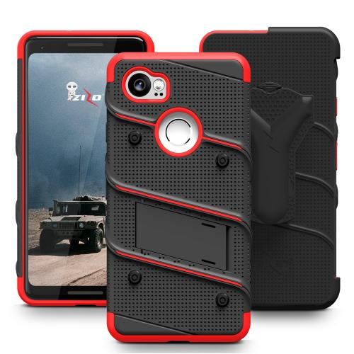 Made for [Google Pixel XL 2]-Bolt Series:  Heavy Duty Cover w/ Kickstand Holster Tempered Glass Screen Protector & Lanyard [Black/ Red]