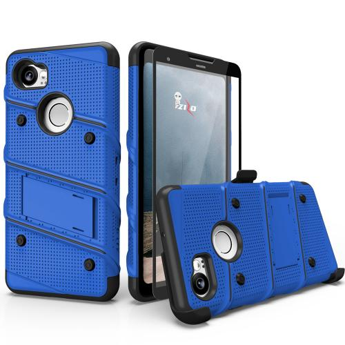 Made for [Google Pixel XL 2]-Bolt Series:  Heavy Duty Cover w/ Kickstand Holster Tempered Glass Screen Protector & Lanyard [Blue/ Black]