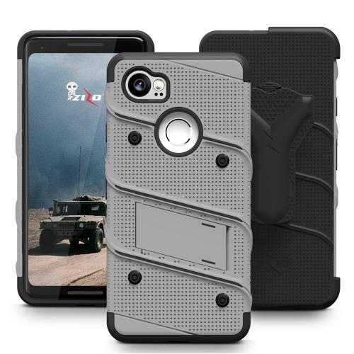 Made for [Google Pixel XL 2]-Bolt Series:  Heavy Duty Cover w/ Kickstand Holster Tempered Glass Screen Protector & Lanyard [Gray/ Black]