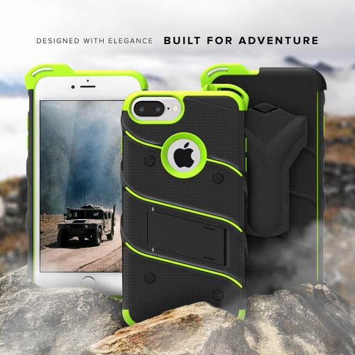 Made for [Apple iPhone 6S/6 Plus (5.5 inch)]-Bolt Series:  Heavy Duty Cover w/ Kickstand Holster Tempered Glass Screen Protector & Lanyard [Black/ Neon Green]