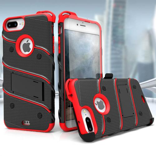 Made for [Apple iPhone 6S/6 Plus (5.5 inch)]-Bolt Series:  Heavy Duty Cover w/ Kickstand Holster Tempered Glass Screen Protector & Lanyard [Black/ Red]