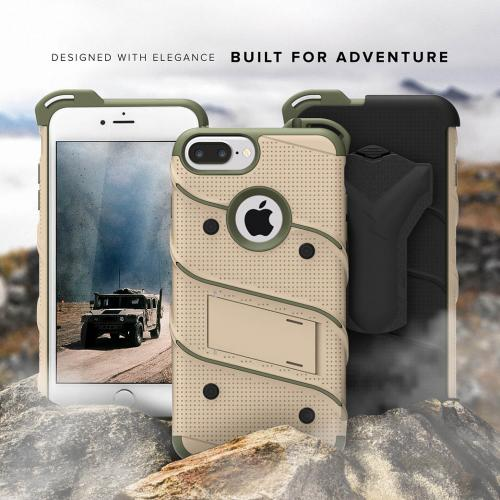 Made for [Apple iPhone 6S/6 Plus (5.5 inch)]-Bolt Series:  Heavy Duty Cover w/ Kickstand Holster Tempered Glass Screen Protector & Lanyard [Desert Tan/Camo Green]