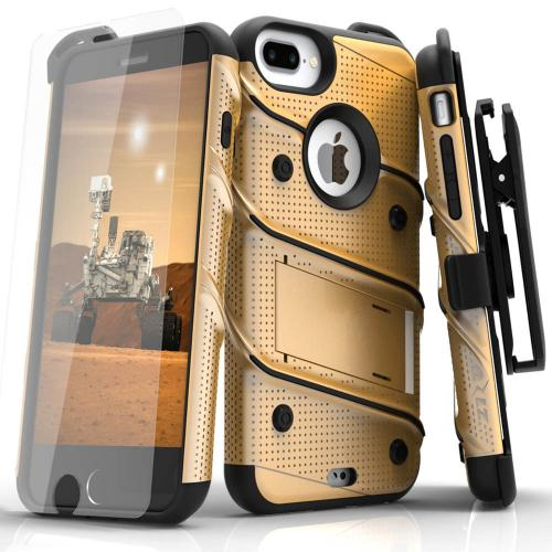 Made for [Apple iPhone 6S/6 Plus (5.5 inch)]-Bolt Series:  Heavy Duty Cover w/ Kickstand Holster Tempered Glass Screen Protector & Lanyard [Gold]