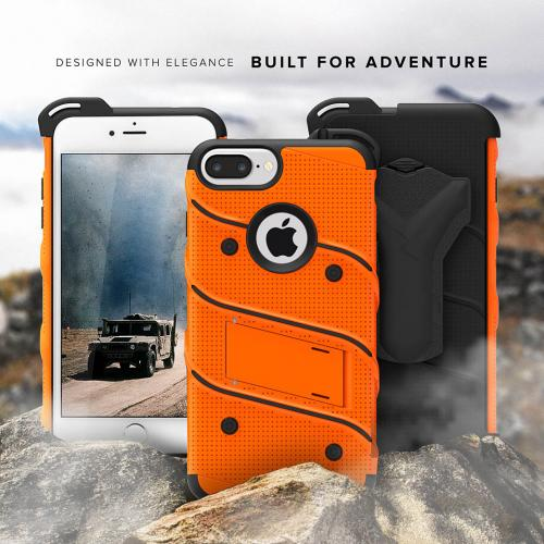 Made for [Apple iPhone 6S/6 Plus (5.5 inch)]-Bolt Series:  Heavy Duty Cover w/ Kickstand Holster Tempered Glass Screen Protector & Lanyard [Orange]