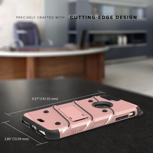 Made for [Apple iPhone 6S/6 Plus (5.5 inch)]-Bolt Series:  Heavy Duty Cover w/ Kickstand Holster Tempered Glass Screen Protector & Lanyard [Rose Gold]