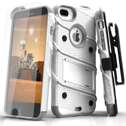 Made for [Apple iPhone 6S/6 Plus (5.5 inch)]-Bolt Series:  Heavy Duty Cover w/ Kickstand Holster Tempered Glass Screen Protector & Lanyard [White/ Gray]