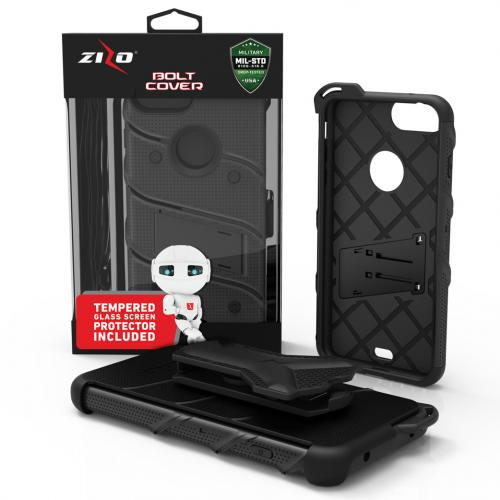 Made for [Apple iPhone 8/7/6S/6 Plus]-Bolt Series:  Heavy Duty Cover w/ Kickstand Holster Tempered Glass Screen Protector & Lanyard [Black]