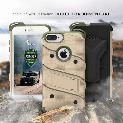 Made for [Apple iPhone 8/7/6S/6 Plus]-Bolt Series:  Heavy Duty Cover w/ Kickstand Holster Tempered Glass Screen Protector & Lanyard [Desert Tan/ Camo Green]