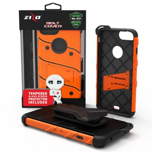 Made for [Apple iPhone 8/7/6S/6 Plus]-Bolt Series:  Heavy Duty Cover w/ Kickstand Holster Tempered Glass Screen Protector & Lanyard [Orange/ Black]