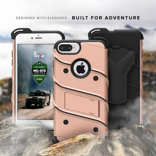 Made for [Apple iPhone 8/7/6S/6 Plus]-Bolt Series:  Heavy Duty Cover w/ Kickstand Holster Tempered Glass Screen Protector & Lanyard [Rose Gold/ Black]