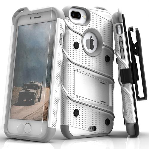 Made for [Apple iPhone 8/7/6S/6 Plus]-Bolt Series:  Heavy Duty Cover w/ Kickstand Holster Tempered Glass Screen Protector & Lanyard [White/ Gray]