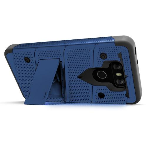 Made for [LG G6]-Bolt Series:  Heavy Duty Cover w/ Kickstand Holster Tempered Glass Screen Protector & Lanyard [Blue/ Black]