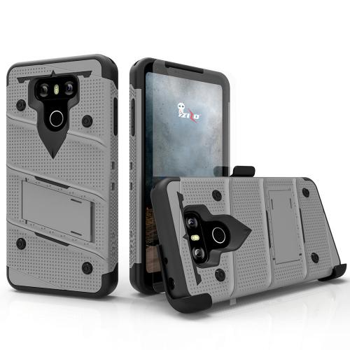 Made for [LG G6]-Bolt Series:  Heavy Duty Cover w/ Kickstand Holster Tempered Glass Screen Protector & Lanyard [Gray/ Black]
