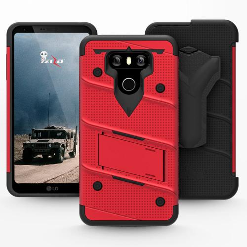 Made for [LG G6]-Bolt Series:  Heavy Duty Cover w/ Kickstand Holster Tempered Glass Screen Protector & Lanyard [Red/ Black]