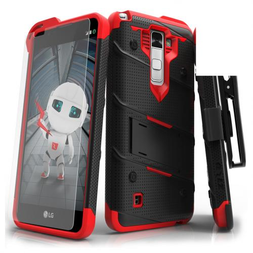 Made for [LG Stylo 2]-Bolt Series:  Heavy Duty Cover w/ Kickstand Holster Tempered Glass Screen Protector & Lanyard [Black/ Red]