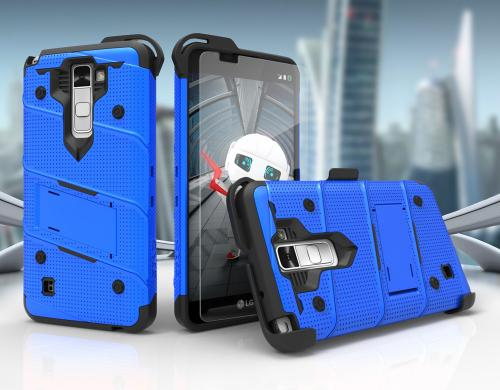 Made for [LG Stylo 2]-Bolt Series:  Heavy Duty Cover w/ Kickstand Holster Tempered Glass Screen Protector & Lanyard [Blue]