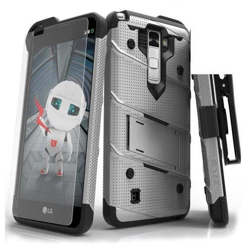 Made for [LG Stylo 2]-Bolt Series:  Heavy Duty Cover w/ Kickstand Holster Tempered Glass Screen Protector & Lanyard [Gray]