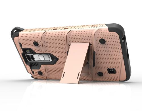 Made for [LG Stylo 2]-Bolt Series:  Heavy Duty Cover w/ Kickstand Holster Tempered Glass Screen Protector & Lanyard [Rose Gold]
