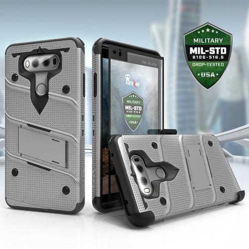 Made for [LG V30]-Bolt Series:  Heavy Duty Cover w/ Kickstand Holster Tempered Glass Screen Protector & Lanyard [Gray/ Black]