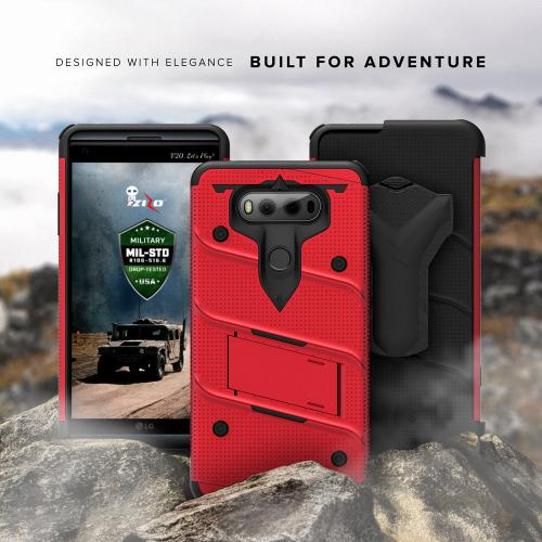 Made for [LG V30]-Bolt Series:  Heavy Duty Cover w/ Kickstand Holster Tempered Glass Screen Protector & Lanyard [Red/ Black]