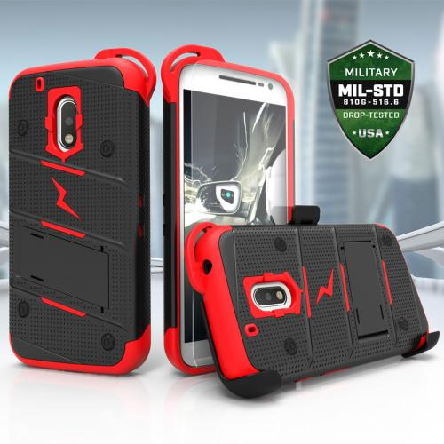 Made for [Motorola Moto G4/ Moto G4 Plus]-Bolt Series:  Heavy Duty Cover w/ Kickstand Holster Tempered Glass Screen Protector & Lanyard [Black/ Red]