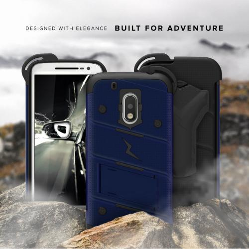 Made for [Motorola Moto G4/ Moto G4 Plus]-Bolt Series:  Heavy Duty Cover w/ Kickstand Holster Tempered Glass Screen Protector & Lanyard [Blue/ Black]