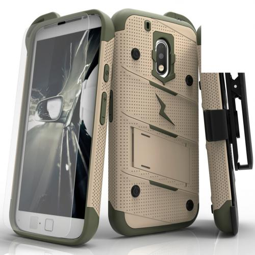 Made for [Motorola Moto G4/ Moto G4 Plus]-Bolt Series:  Heavy Duty Cover w/ Kickstand Holster Tempered Glass Screen Protector & Lanyard [Desert Tan/ Camo Green]
