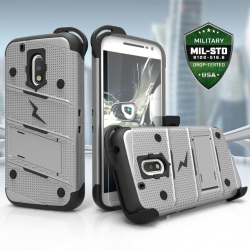 Made for [Motorola Moto G4/ Moto G4 Plus]-Bolt Series:  Heavy Duty Cover w/ Kickstand Holster Tempered Glass Screen Protector & Lanyard [Gray/ Black]