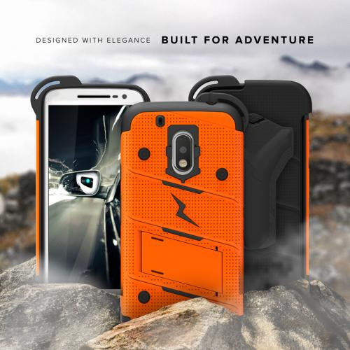 Made for [Motorola Moto G4/ Moto G4 Plus]-Bolt Series:  Heavy Duty Cover w/ Kickstand Holster Tempered Glass Screen Protector & Lanyard [Orange/ Black]