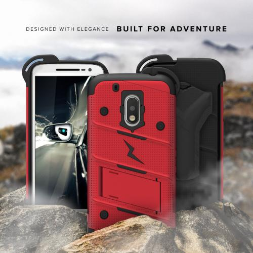 Made for [Motorola Moto G4/ Moto G4 Plus **Does NOT work with MOTO G4 PLAY**]-Bolt Series:  Heavy Duty Cover w/ Kickstand Holster Tempered Glass Screen Protector & Lanyard [Red/ Black]