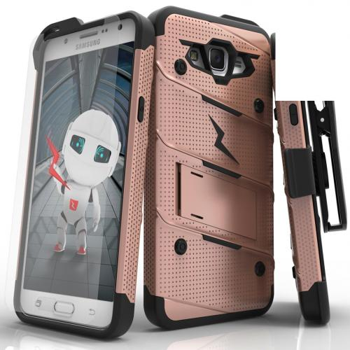 Made for [Samsung Galaxy J7]-Bolt Series:  Heavy Duty Cover w/ Kickstand Holster Tempered Glass Screen Protector & Lanyard [Rose Gold/ Black]