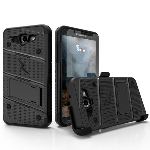 Made for [Samsung Galaxy J7 [2017]/ Galaxy J7 Perx/ J7V]-Bolt Series:   Heavy Duty Cover w/ Kickstand Holster Tempered Glass Screen Protector & Lanyard [Black]