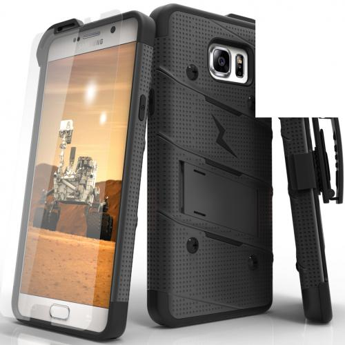 Made for [Samsung Galaxy Note 5]-Bolt Series:  Heavy Duty Cover w/ Kickstand Holster Tempered Glass Screen Protector & Lanyard [Black]
