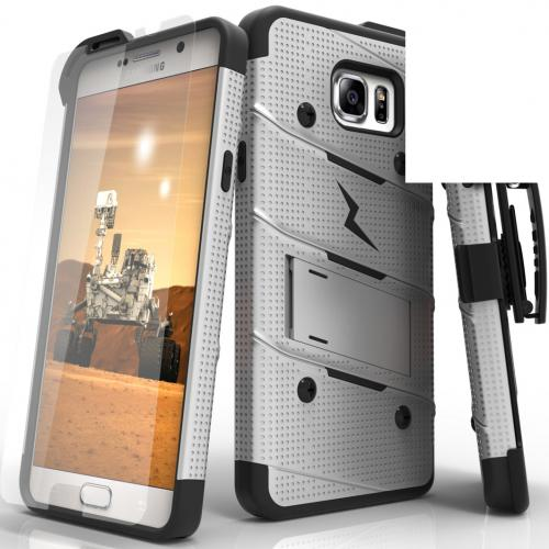 Samsung Galaxy Note 5 Case - [bolt] Heavy Duty Cover w/ Kickstand, Holster, Tempered Glass Screen Protector & Lanyard [Gray/ Black]