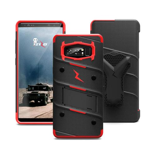 Made for [Samsung Galaxy Note 8]-Bolt Series:  Heavy Duty Cover w/ Kickstand Holster Curved Full Glass Screen Protector & Lanyard [Black/ Red]