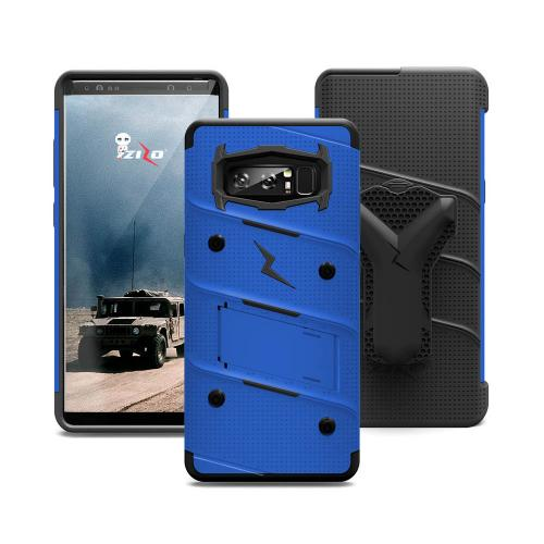 Made for [Samsung Galaxy Note 8]-Bolt Series:  Heavy Duty Cover w/ Kickstand Holster Curved Full Glass Screen Protector & Lanyard [Blue/ Black]