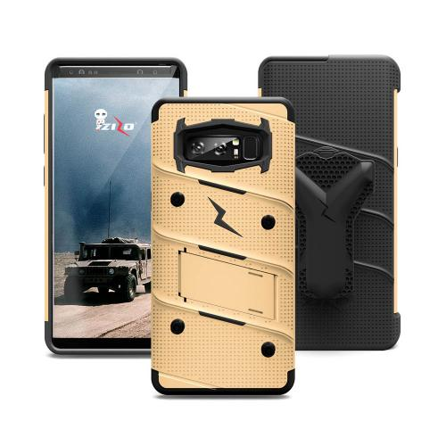 Made for [Samsung Galaxy Note 8]-Bolt Series:  Heavy Duty Cover w/ Kickstand Holster Curved Full Glass Screen Protector & Lanyard [Gold/ Black]
