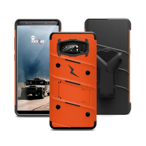 Made for [Samsung Galaxy Note 8]-Bolt Series:  Heavy Duty Cover w/ Kickstand Holster Curved Full Glass Screen Protector & Lanyard [Orange/ Black]