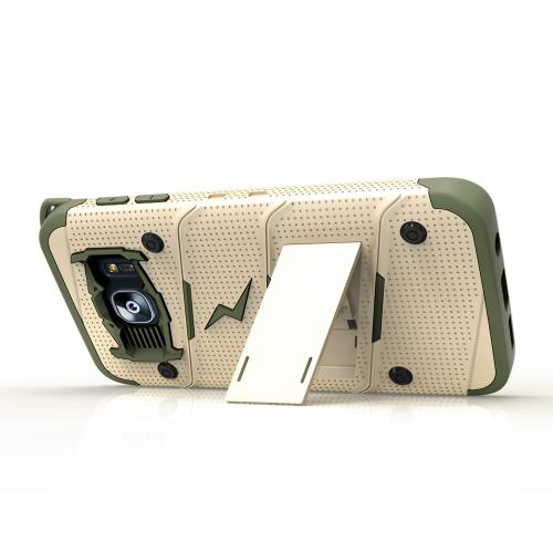 Made for [Samsung Galaxy S7 Edge]-Bolt Series:  Heavy Duty Cover w/ Kickstand Holster & Lanyard [Desert Tan/ Camo Green] - Tempered Screen Protector Included