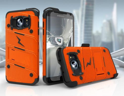 Made for [Samsung Galaxy S7 Edge]-Bolt Series:  Heavy Duty Cover w/ Kickstand Holster & Lanyard [Orange/ Black] - Tempered Screen Protector Included