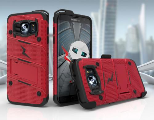 Made for [Samsung Galaxy S7 Edge]-Bolt Series:  Heavy Duty Cover w/ Kickstand Holster & Lanyard [Red/ Black] - Tempered Screen Protector Included