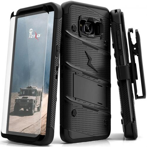 Made for [Samsung Galaxy S8]-Bolt Series:   Heavy Duty Cover w/ Kickstand Holster Tempered Glass Screen Protector & Lanyard [Black]
