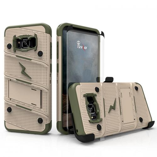 Made for [Samsung Galaxy S8]-Bolt Series:   Heavy Duty Cover w/ Kickstand Holster Tempered Glass Screen Protector & Lanyard [Desert Tan/ Camo Green]