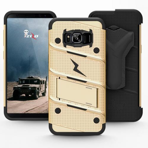 Made for [Samsung Galaxy S8]-Bolt Series:   Heavy Duty Cover w/ Kickstand Holster Tempered Glass Screen Protector & Lanyard [Gold/ Black]