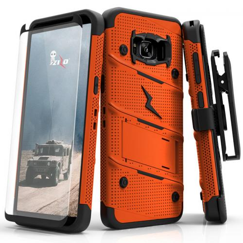 Made for [Samsung Galaxy S8]-Bolt Series:   Heavy Duty Cover w/ Kickstand Holster Tempered Glass Screen Protector & Lanyard [Orange/ Black]