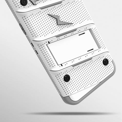 Made for [Samsung Galaxy S8]-Bolt Series:   Heavy Duty Cover w/ Kickstand Holster Tempered Glass Screen Protector & Lanyard [White/ Gray]